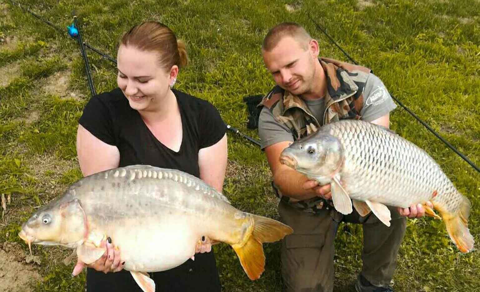 Josip Frič‎ - Field Tester - with his fiancé both fish caught using Dynamic Boilies