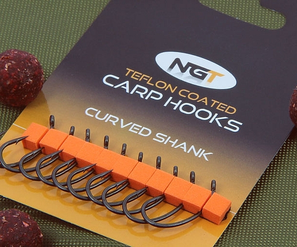 NGT Teflon Coated Micro Barbed Curved Shank Carp Hooks